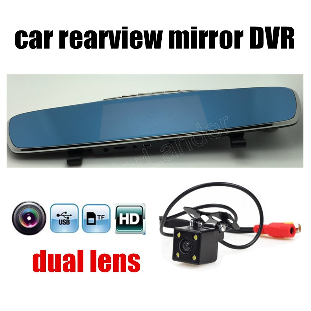 56.70$  Buy here - http://aliydu.worldwells.pw/go.php?t=32688396091 - new style 4.3 inch car DVR mirror mirror driving recorder dual lens HD night vision Car styling Loop Recording with Rear Camera