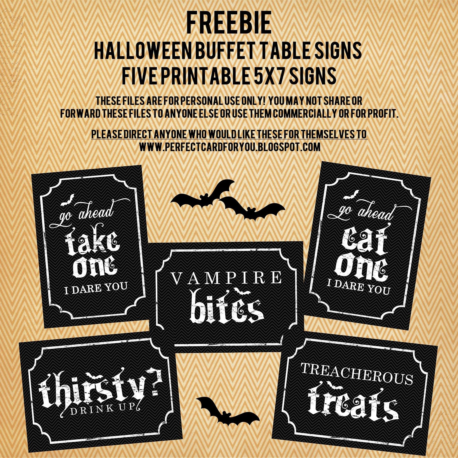 Halloween buffet table - Free Halloween Printables Halloween Buffet Table Signs From The Perfect Card Www Perfectcards