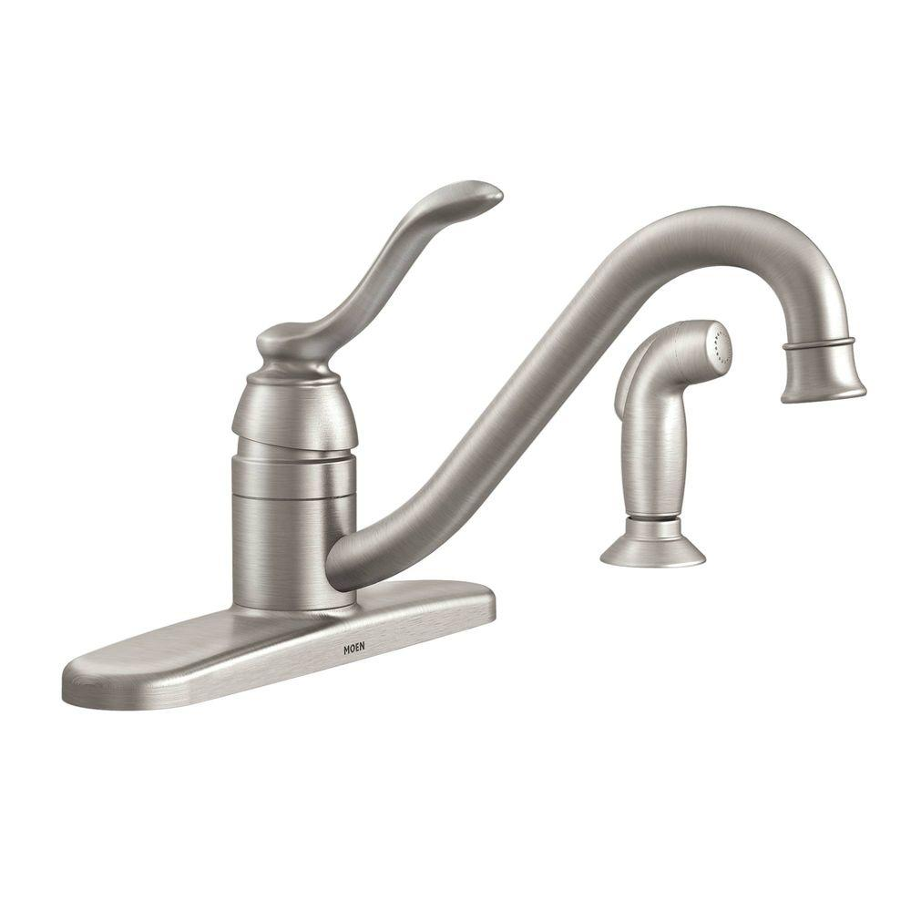 MOEN Banbury Single-Handle Standard Kitchen Faucet with Side Sprayer ...