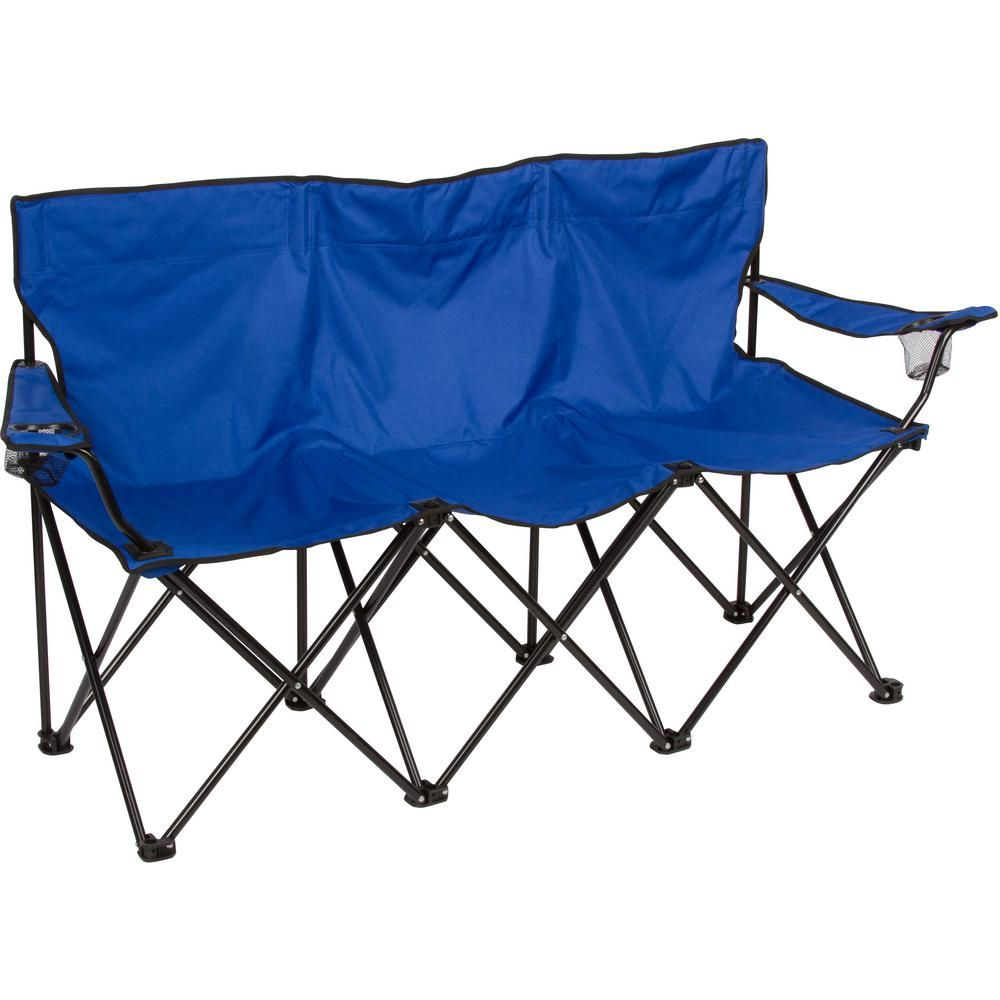 Trademark Innovations Triple Style Blue Steel Frame Tri Camp Chair Camping Chairs Steel Frame Chair