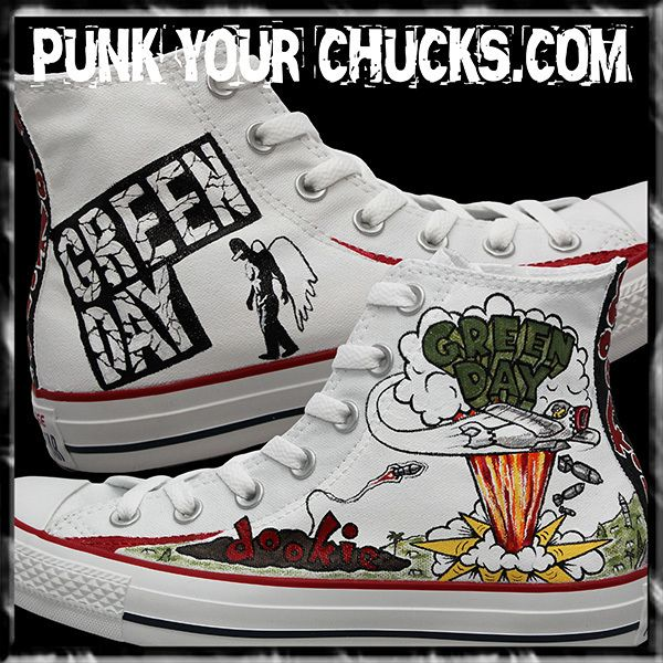 Green Day Dookie Custom Converse Sneakers hand painted by celebrity artist  MAG from punkyourchucks.com  Greenday  converse  chucks c57a8da0c