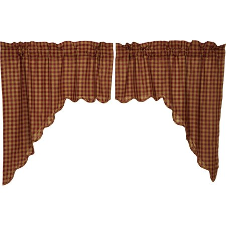 New Primitive Country Red Wine BURGUNDY TAN CHECK Balloon Curtain Swag Valance
