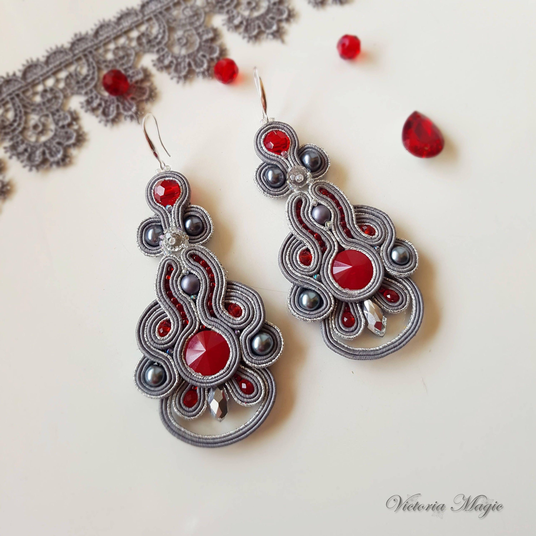 Soutache Earrings 3 In 1  Long Grayred Dangle Earrings, Small Earrings,