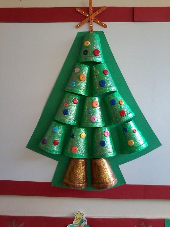 Styrofoam cup christmas tree craft for kids bulletin for Christmas crafts for preschoolers pinterest