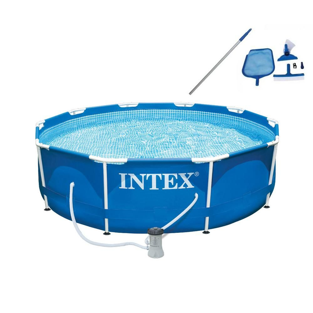Intex 10 Ft X 30 In Deep Metal Frame Round Swimming Pool With Filter Pump And Maintenance Kit 28201eh 28002e The Home Depot Intex Above Ground Swimming Pools Round Above Ground Pool