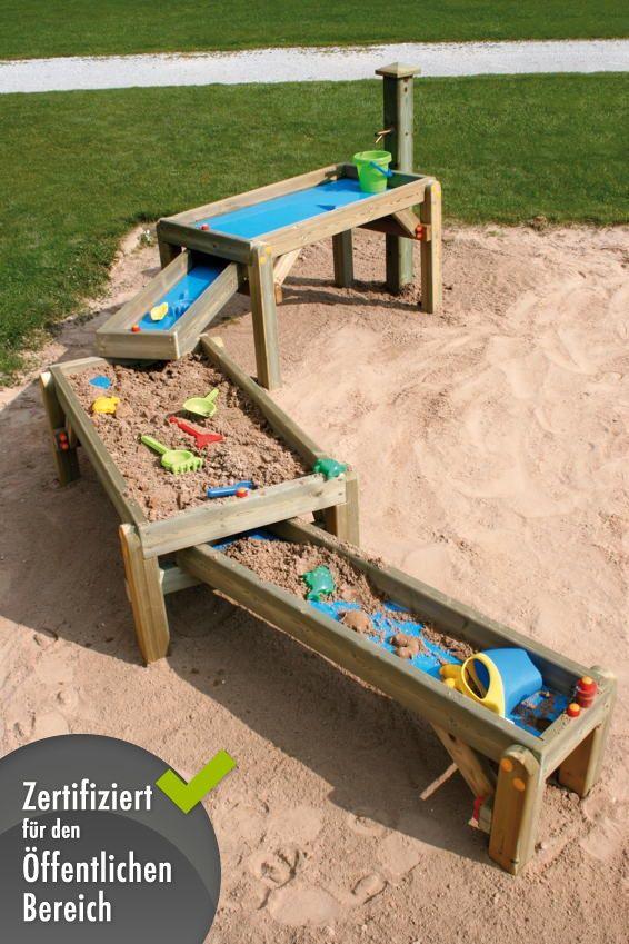 Sandtisch din en 1176 spiel wasser sandkasten wasserspielstra e sandkasten pinterest - Kinderspielplatz garten ...