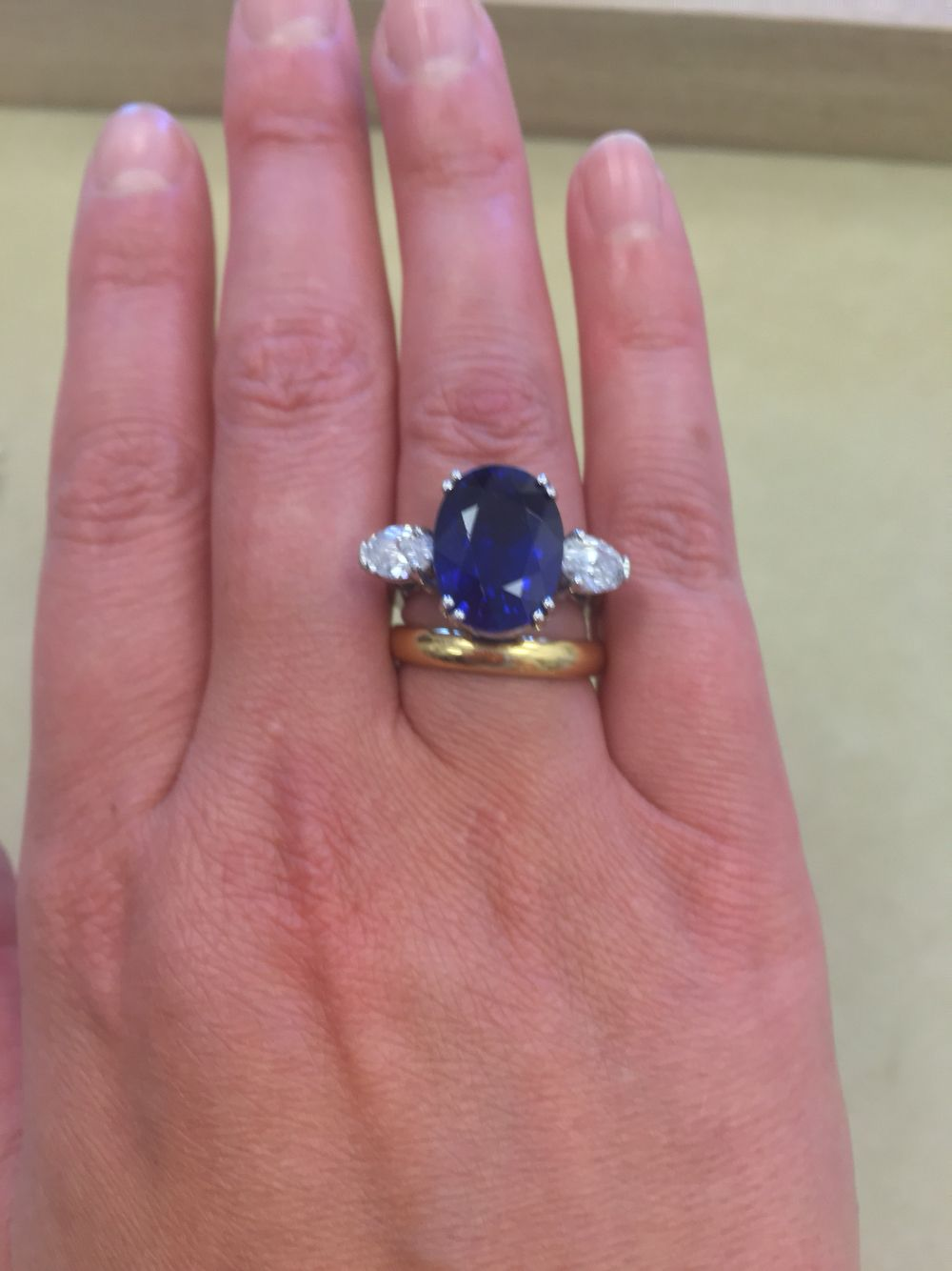 Blue Sapphire And Diamond Right Hand Ring Fine Jewelry