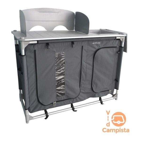 Mueble cocina con fregador en aluminio, camping Midland Etna ...
