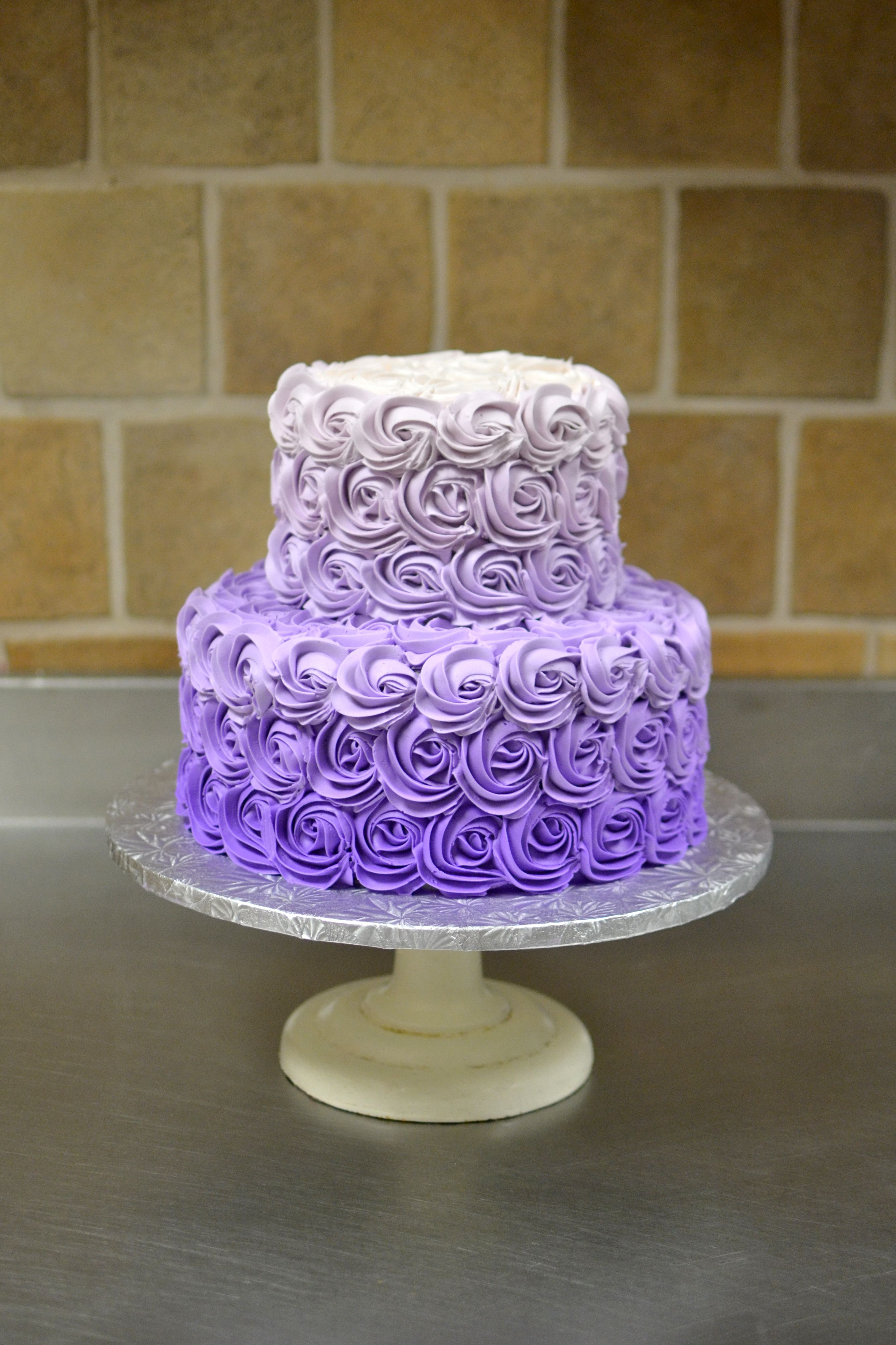 Santoni's Bakery Purple Gradient Rosette Cake (With images) | 13 birthday cake, Party cakes ...
