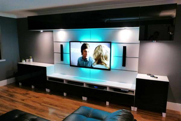 90 Inch Plasma And Besta Tv Stand Blue Led Lighting With Wood Floors
