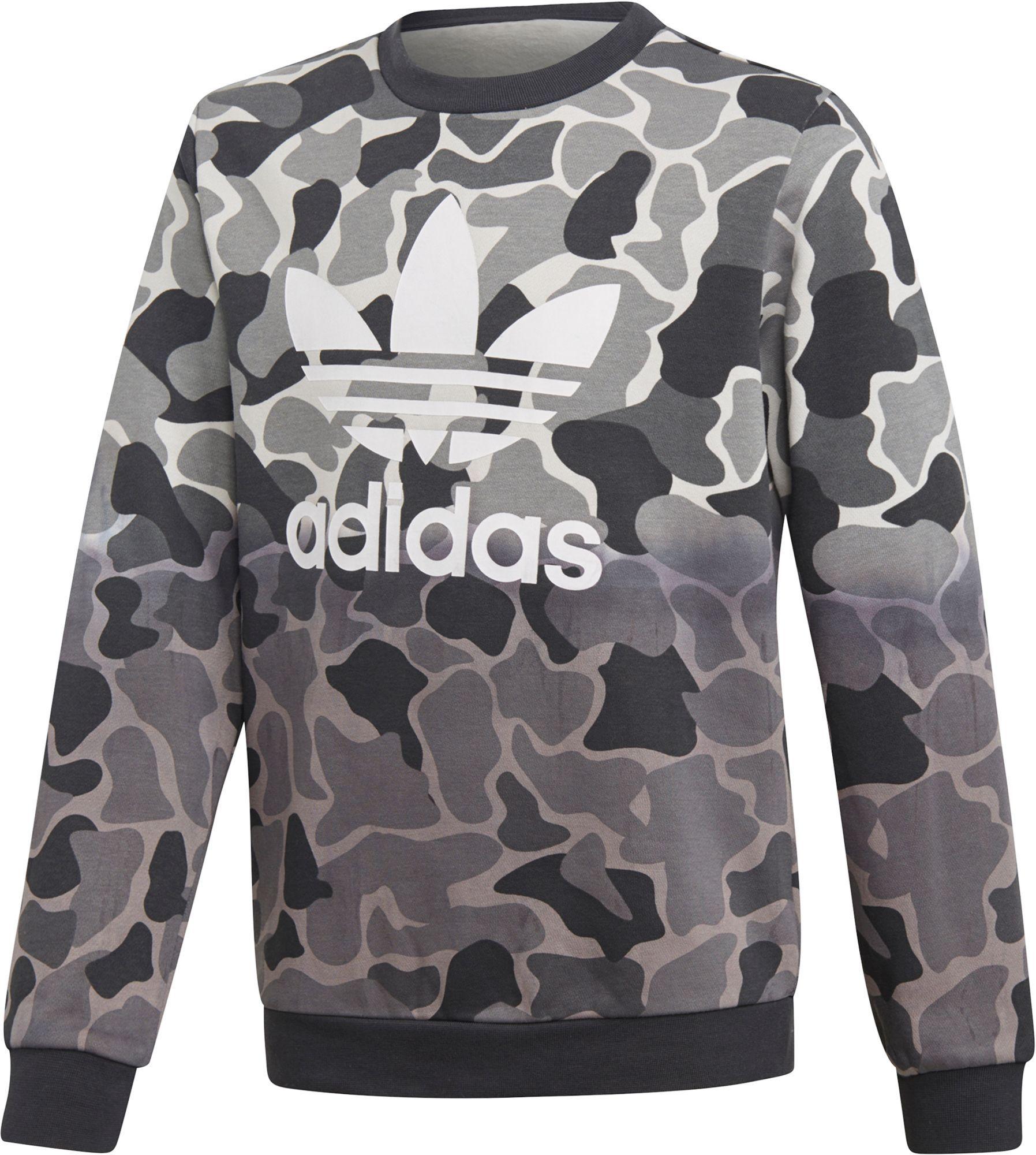 best sneakers 10e33 af75d adidas Originals Boys Camo Trefoil Crew Sweatshirt, GreenBlack