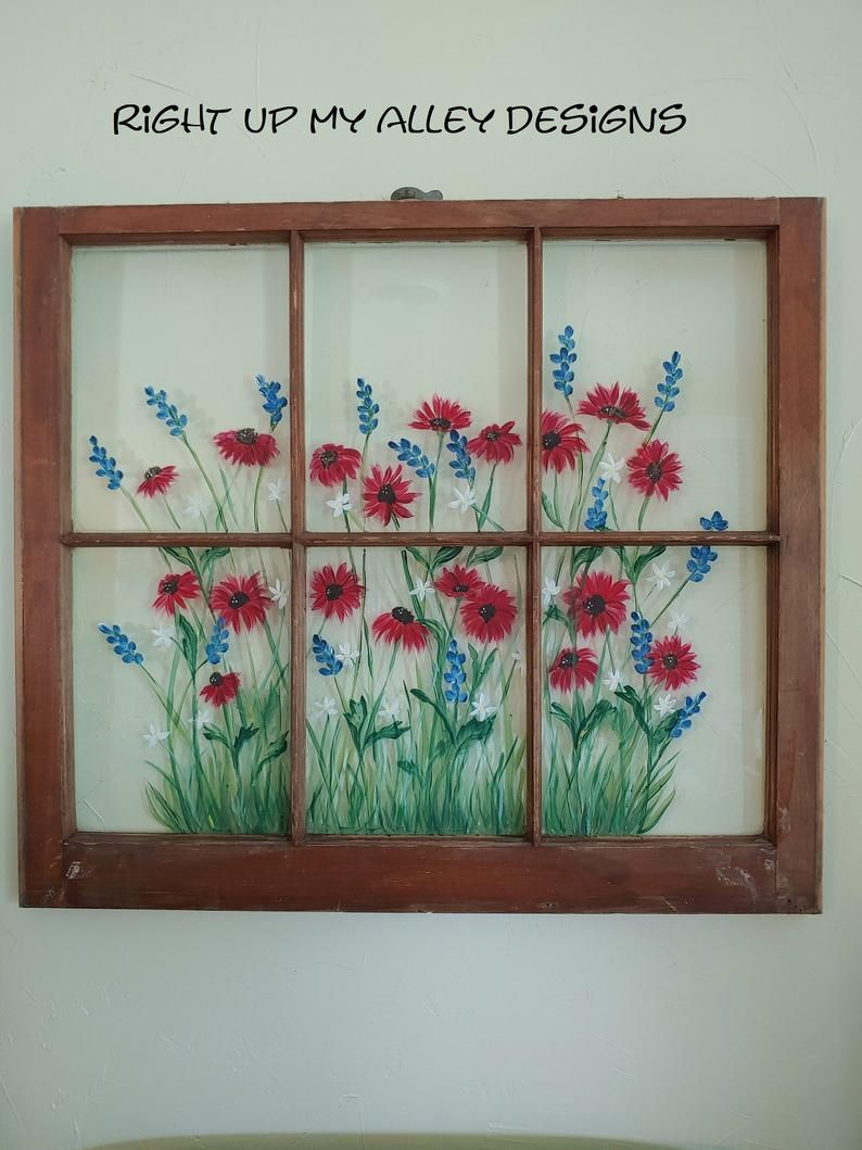 Painted window Old windows Red White Blue artArt Life   Etsy in ...