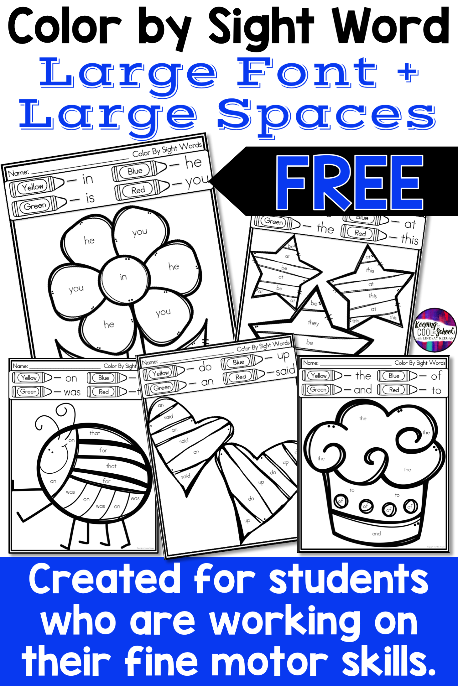 Color By Sight Word Worksheets With Large Spaces For Fine