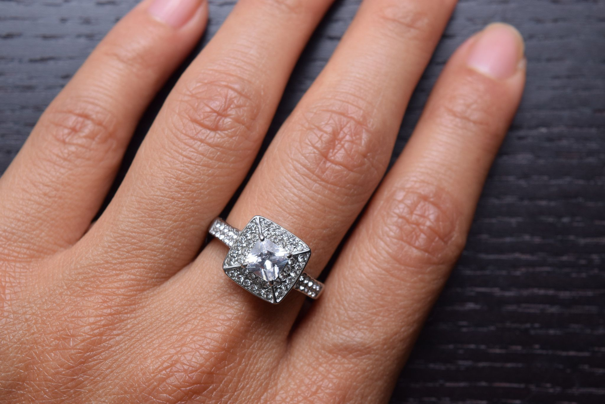 316L Stainless Steel Cubic Zirconia Halo Square Engagement and