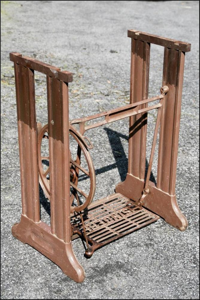 Antique cast iron treadle base table stand vtg sewing for Wood table iron legs