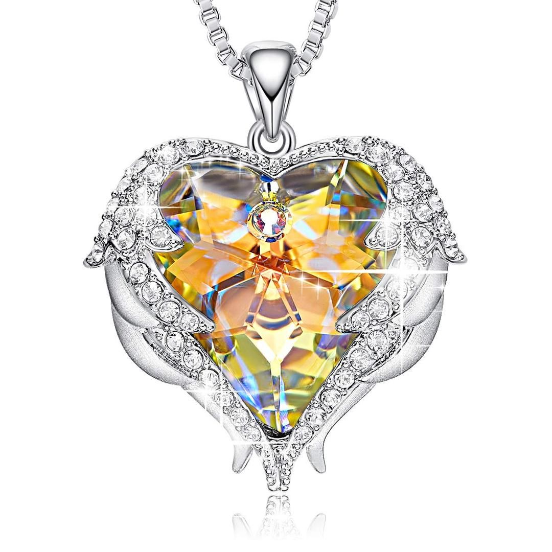 Aurora Heart & Wing Necklace with Swarovski Crystals   24 Style