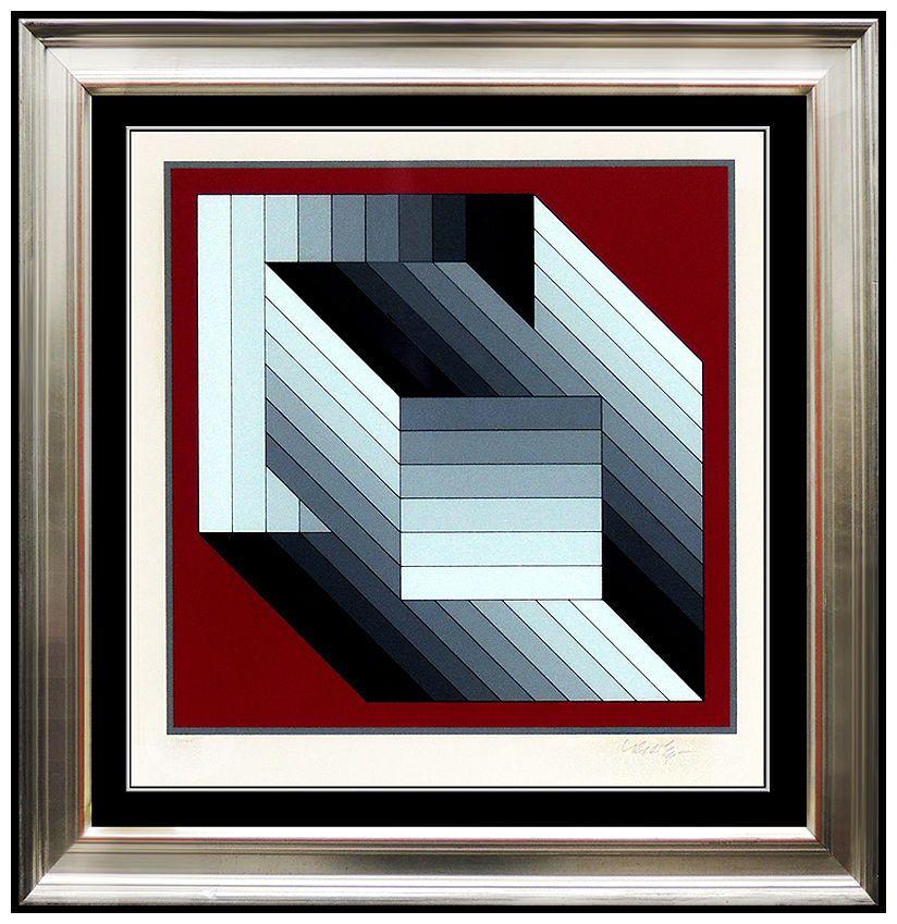 Victor Vasarely Color Silkscreen RARE Original Hand Signed Op Artwork Fond Rouge | eBay