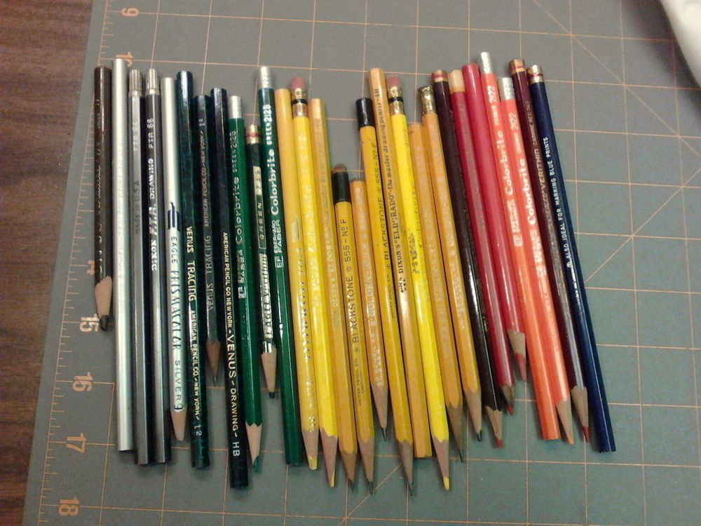 28 Vtg Drawing Drafting Pencils Dixon Faber Eagle Blackstone Koh I