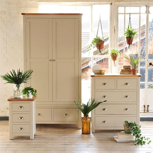 Lundy Stone 2 Drawer Wardrobe - The Cotswold Company