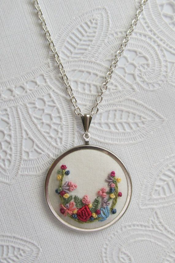Hand embroidered fabric necklace embroidered by ThePetiteArmoire, $40.00