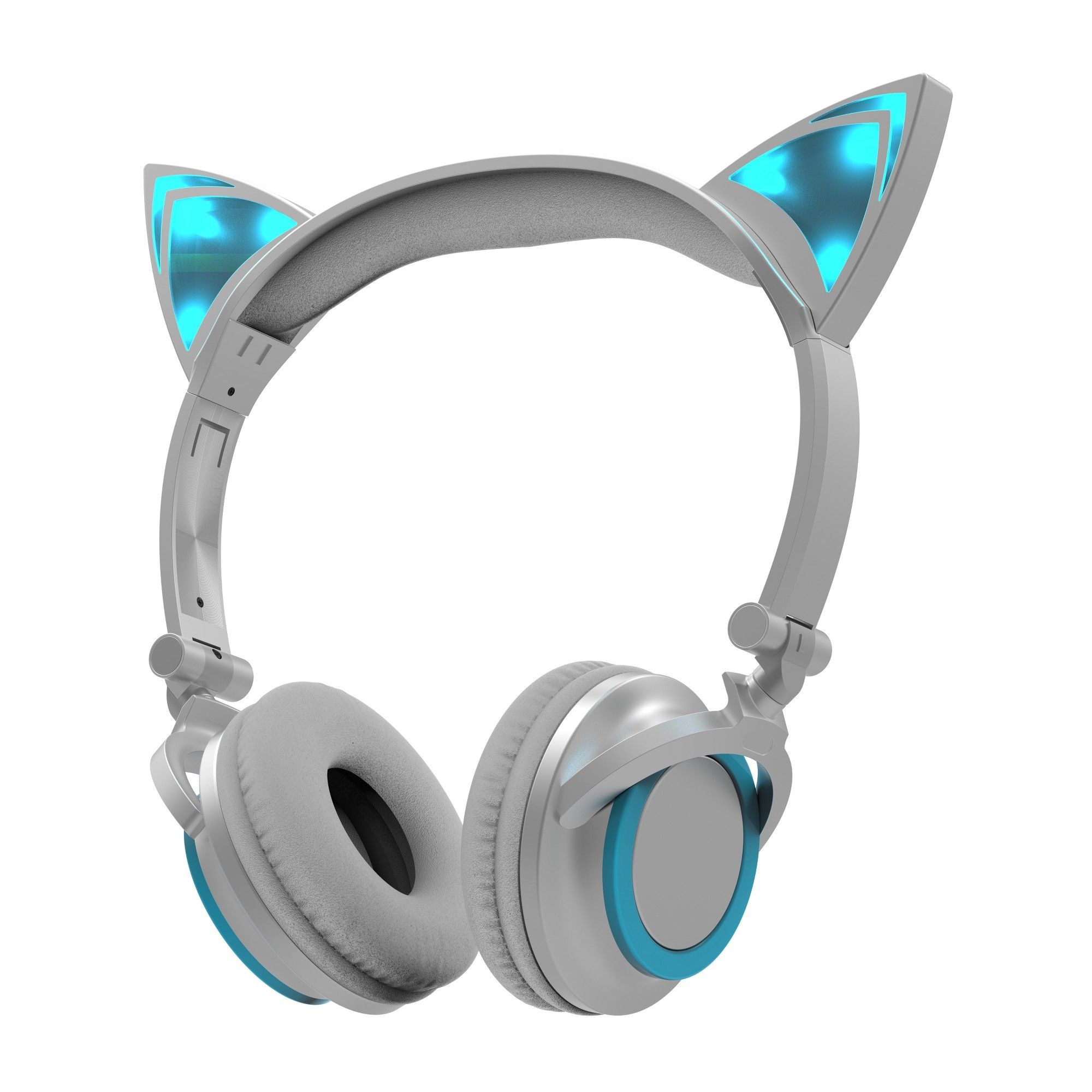 Sharper Image Led Cat Ear Headphones with Fold - Blue