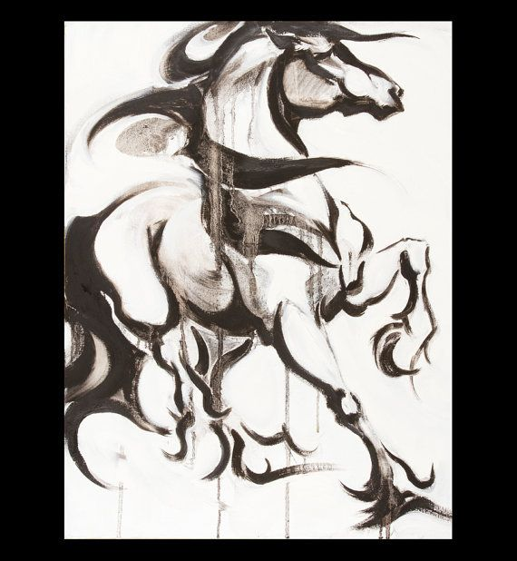 Friesian Horse Art Painting, Original Oil by Anna Noelle Rockwell-Proud Friesian Horse - SOLD!