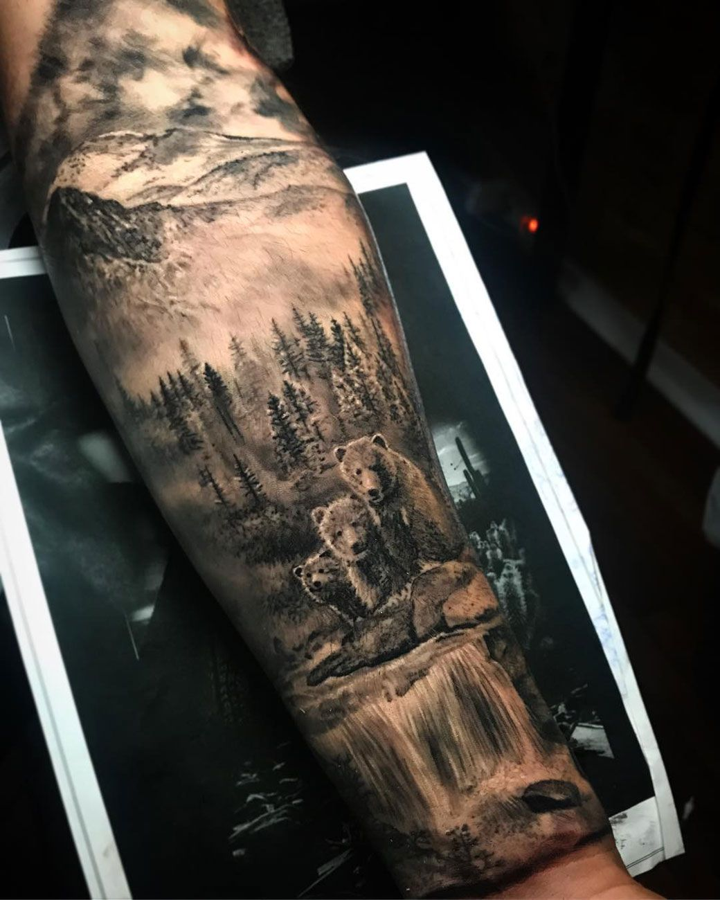 Bear family nature tattoo sleeve forest tattoos wolf