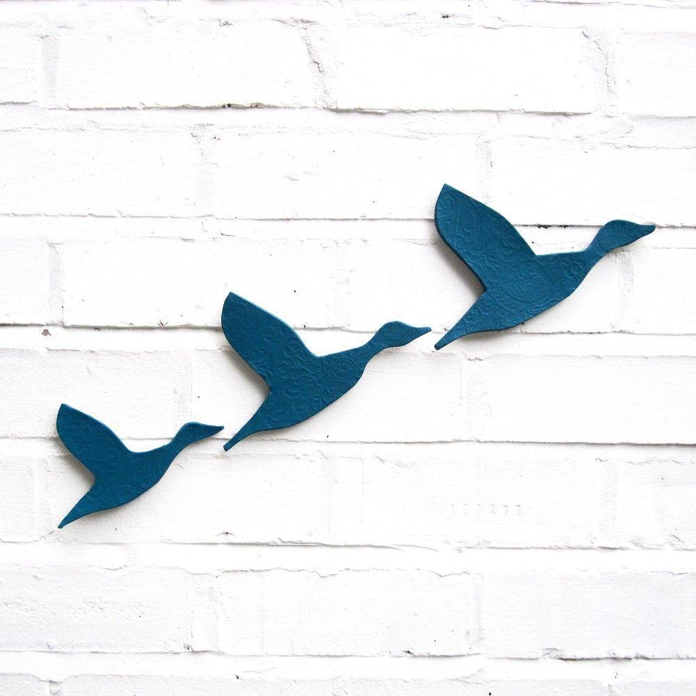 Ceramic wall art flying ducks in teal blue set of stoneware