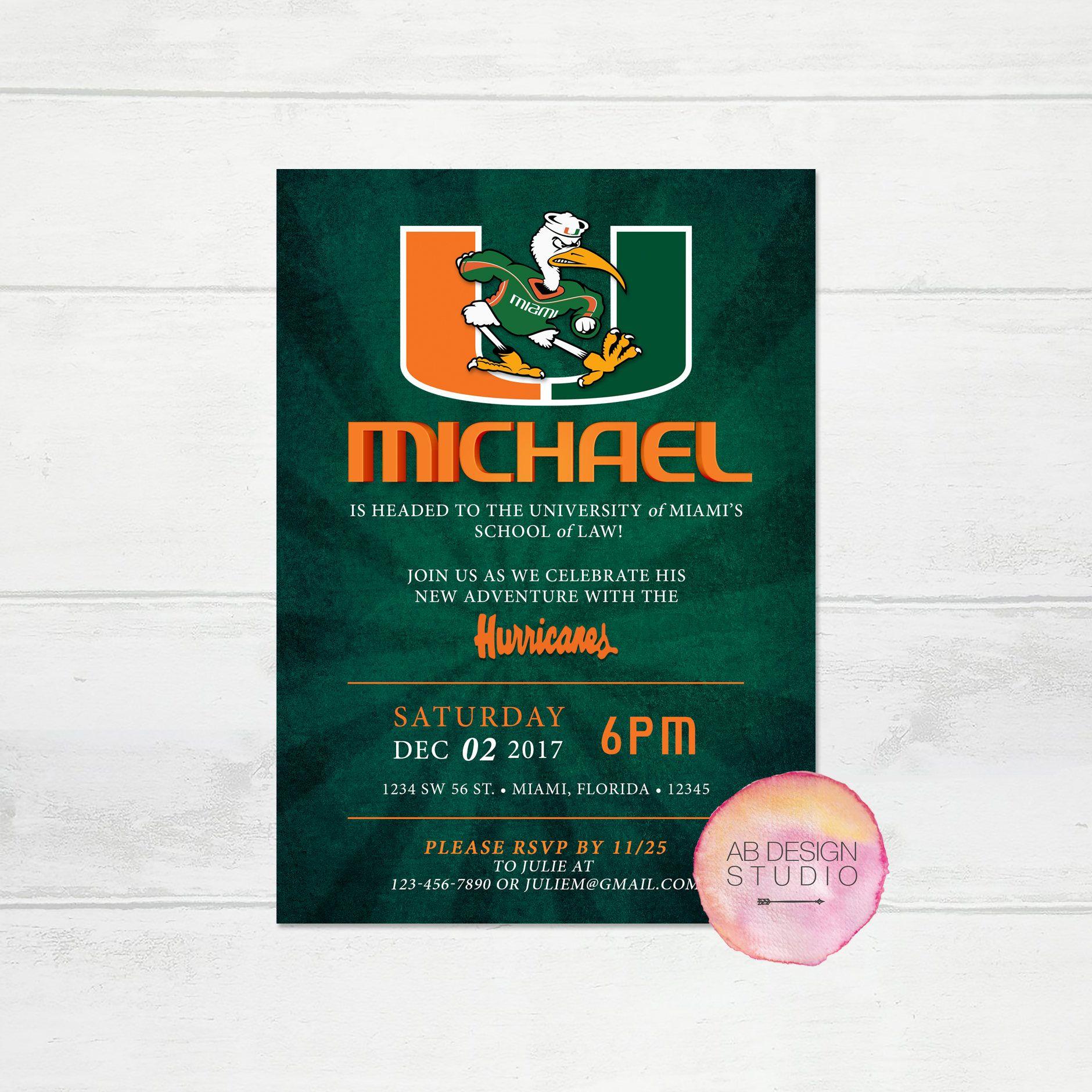 Miami Hurricanes Party Invitation University Of Miami Acceptance