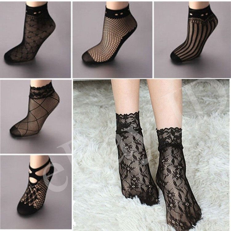 New Women Ladies Black Lace Ruffle Fishnet Mesh Short Ankle Socks Stockings