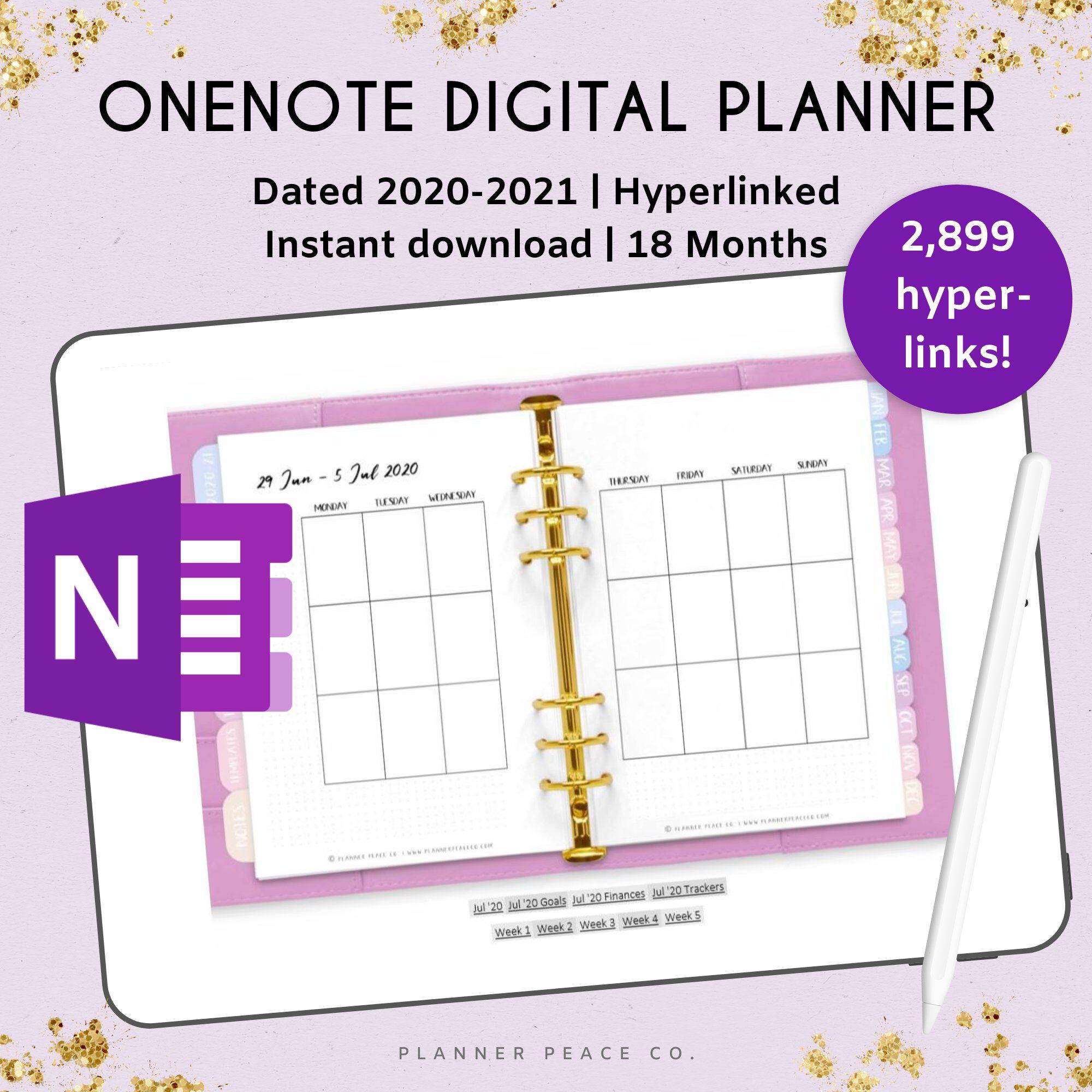 2020 2021 OneNote Digital Planner with hyperlinks Windows