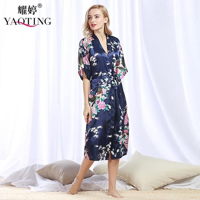 SpaRogerss Women Long Robe 2017 Brand New Ladies Faux Silk Floral Summer  Bathrobe Thin Female Luxury Plus Size Robes Woman WP200 5a32cde72