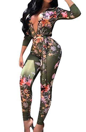 c20a2800be4a MU2M Women s Deep V-neck Long Sleeve Floral Print Long Pants Jumpsuit Romper
