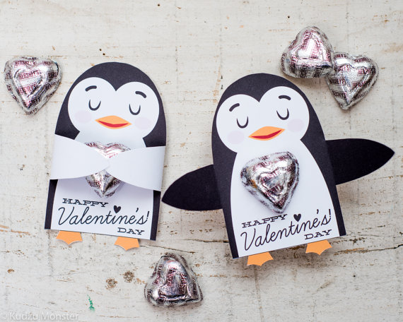Printable cute penguin Candy or gift Hugger valentines animals hug ...