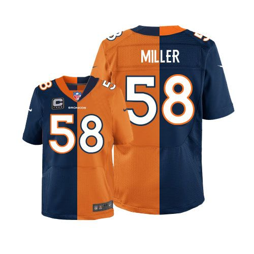Men s Nike Denver Broncos  58 Von Miller Elite Alternate Team Two Tone C  Patch NFL Jersey www.buybroncosjersey.com 838a91955