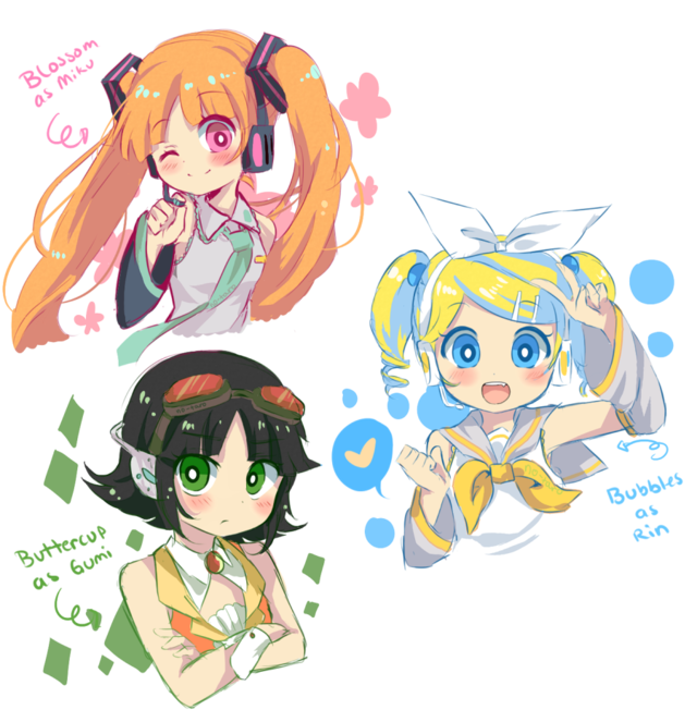 PPG in vocaloid Powerpuff girls anime, Powerpuff girls