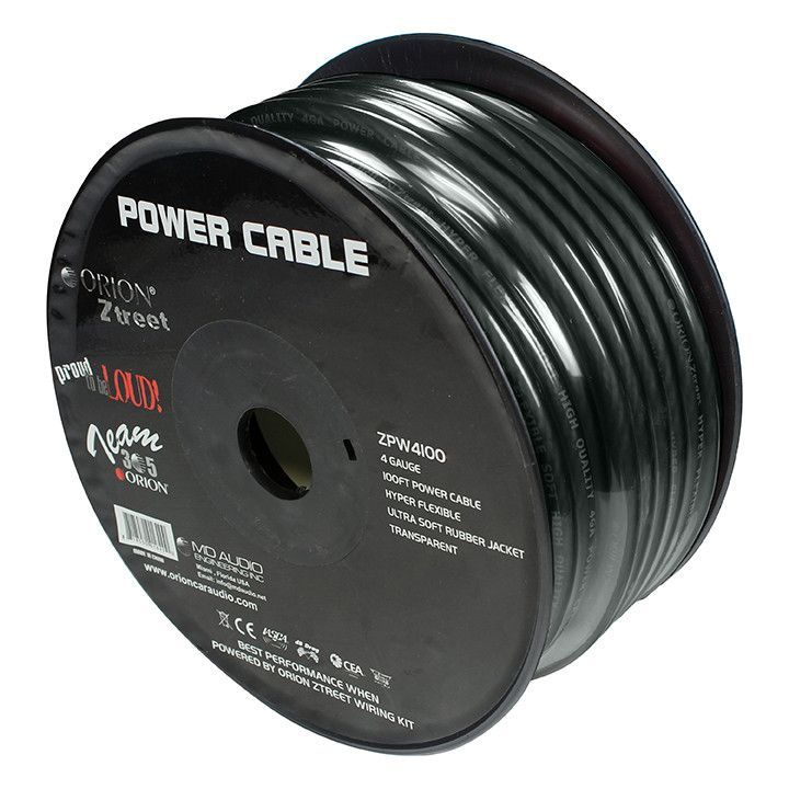 Orion Ztreet 4 Gauge Ground Wire Black 100' roll