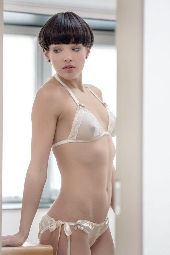 3ec3b27be4 20 s style bridal silk chiffon Bralette bra with by VoilaLeVelo ...