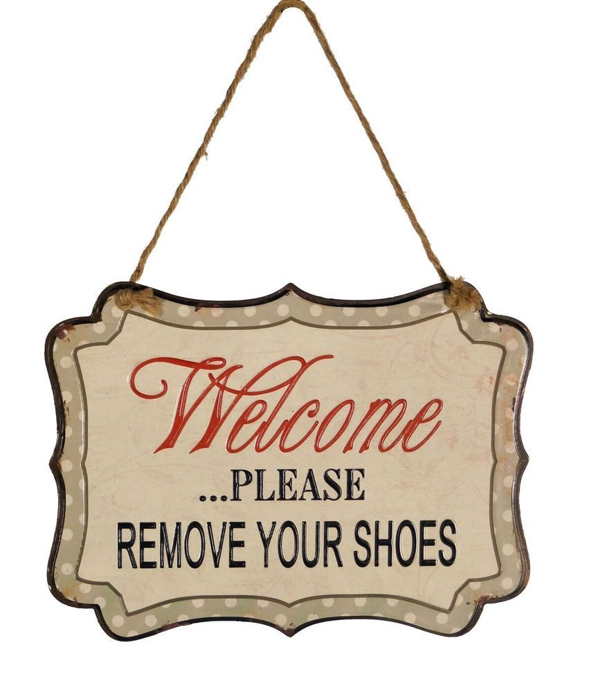 Welcome Please Remove Your Shoes Metal Sign Decorative Wall Hanging Plaque