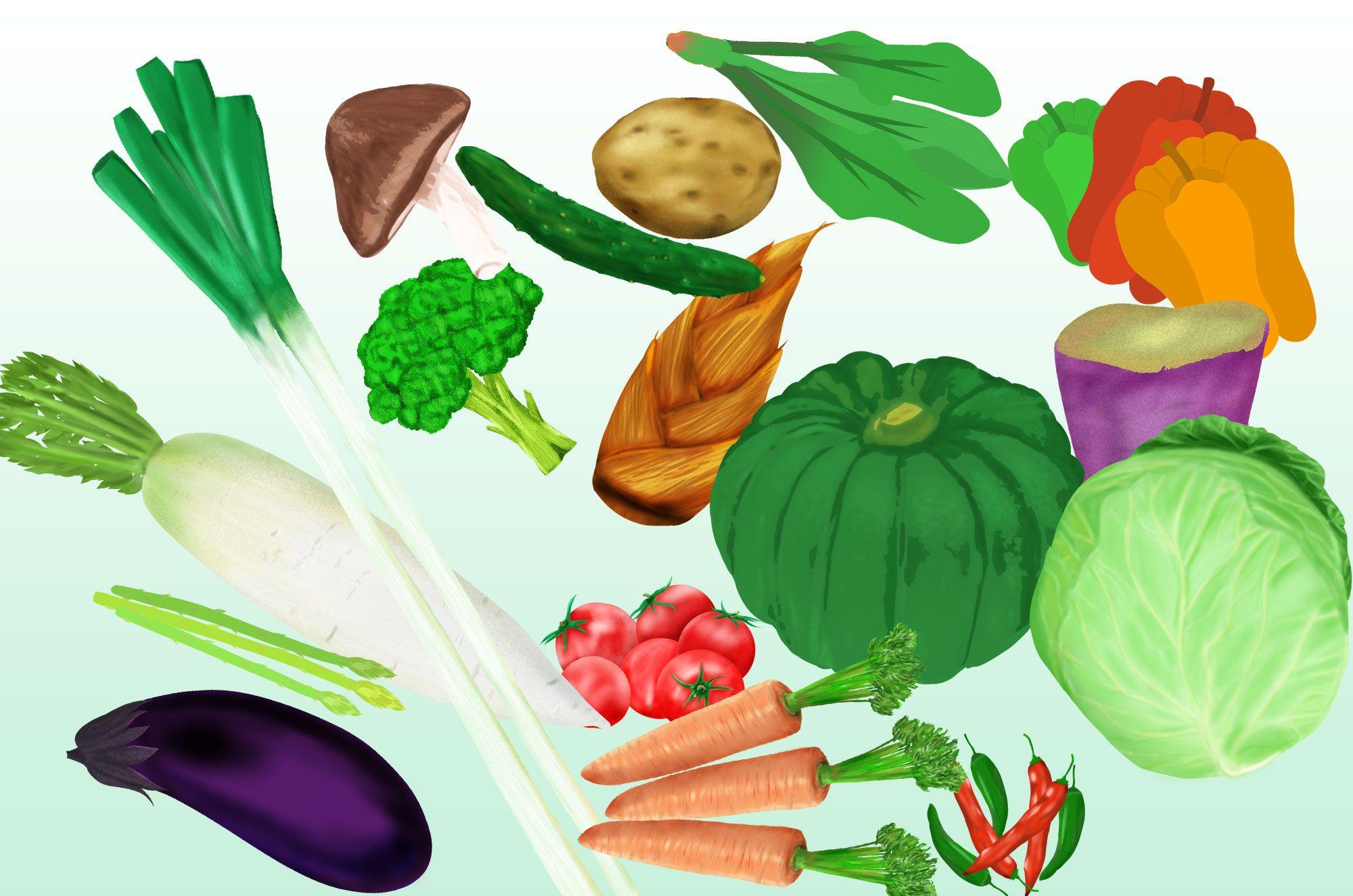 野菜イラスト フリーの手描きの可愛い無料素材 イラスト 無料