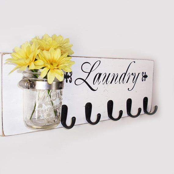 Laundry Sign With Hooks Laundry Sign With 5 Hooks  White With Black Vinyl Lettering