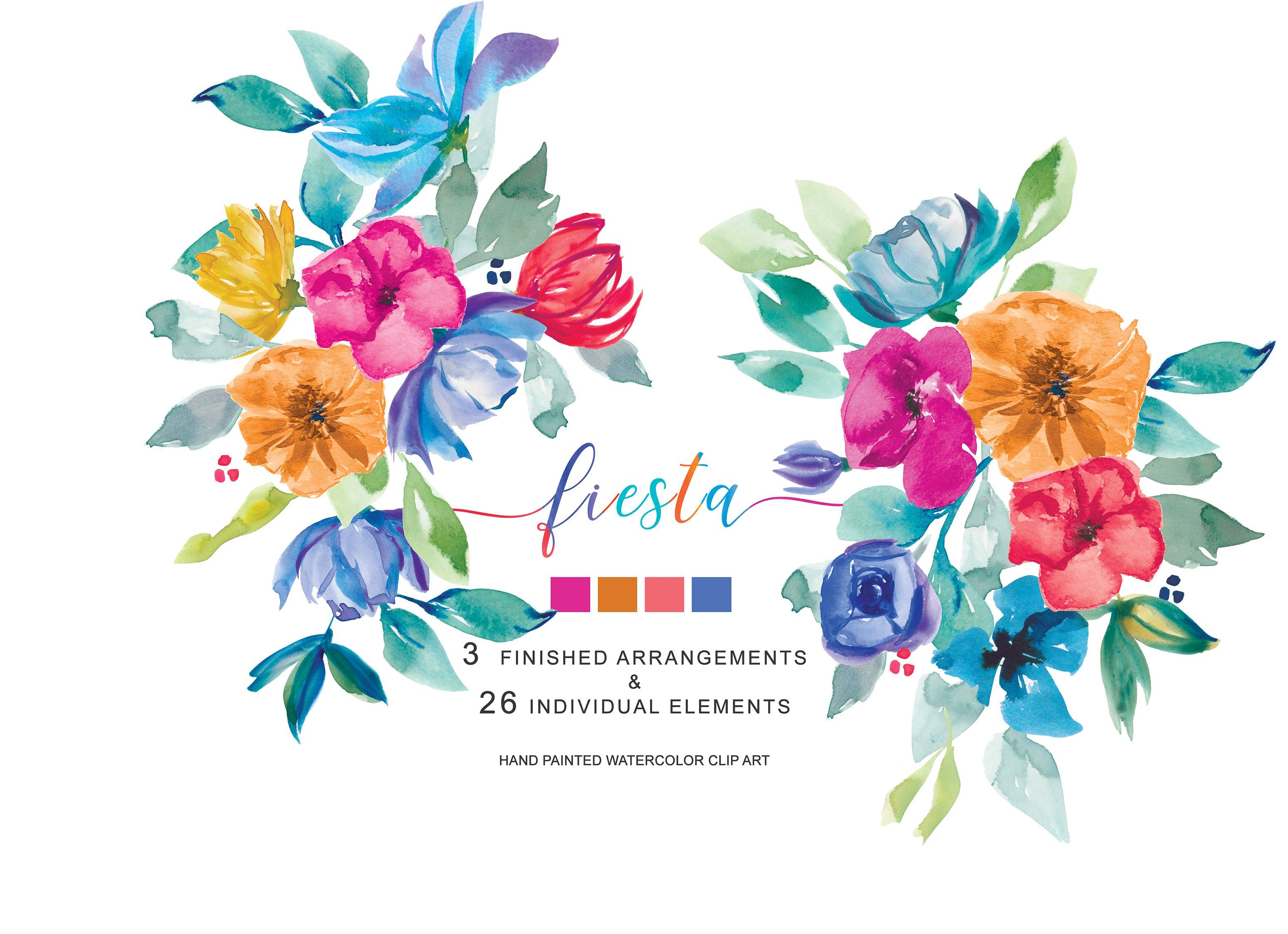 Hand Painted Colorful Fiesta Clipart Clip Art Floral Drawing Flower Bouquet Drawing