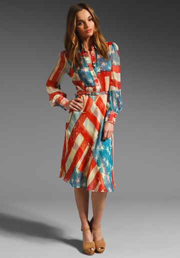 Catherine Malandrino American Long Sleeve Dress In Flag Print At Revolve Clothing So Awesome Long Sleeve Dress American Flag Dress Dresses