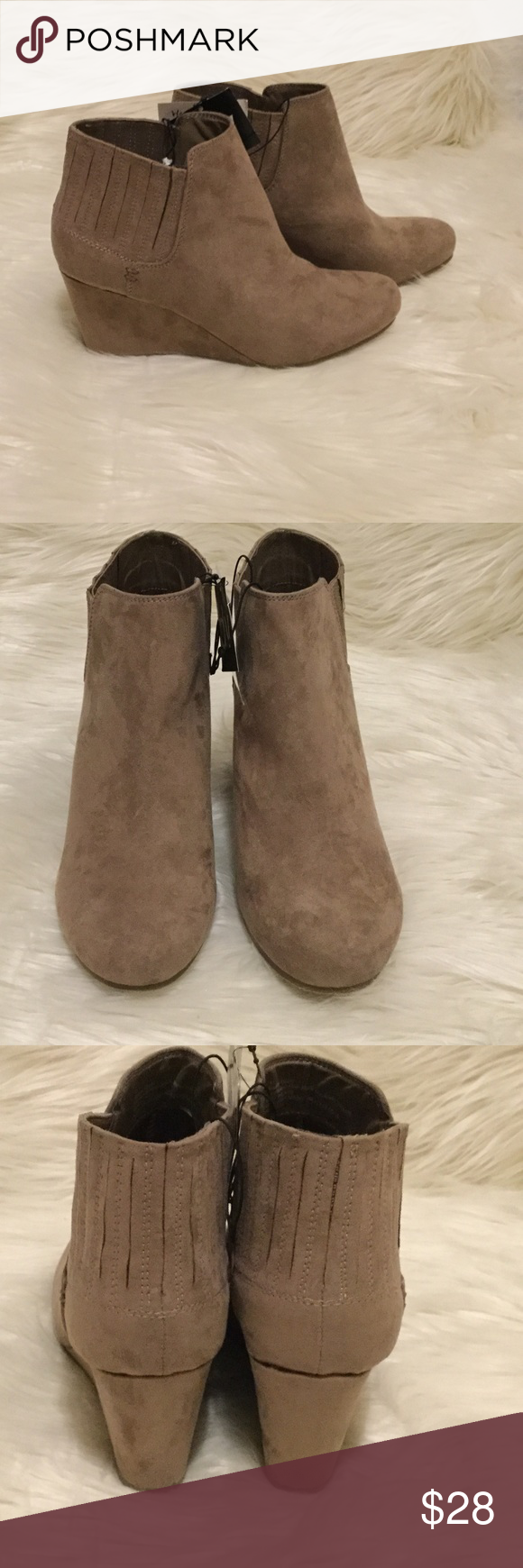 8efd715fb19 Stephanie Taupe Bootie DV for Target. Taupe Suede Bootie. Wedge is 3