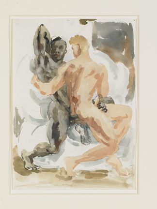 Duncan Grant English, 1885-1978 Michelangelesque Figures, 1950 Watercolor on paper 18 x 14 in. Collection of Leslie-Lohman Museum, Founders' gift