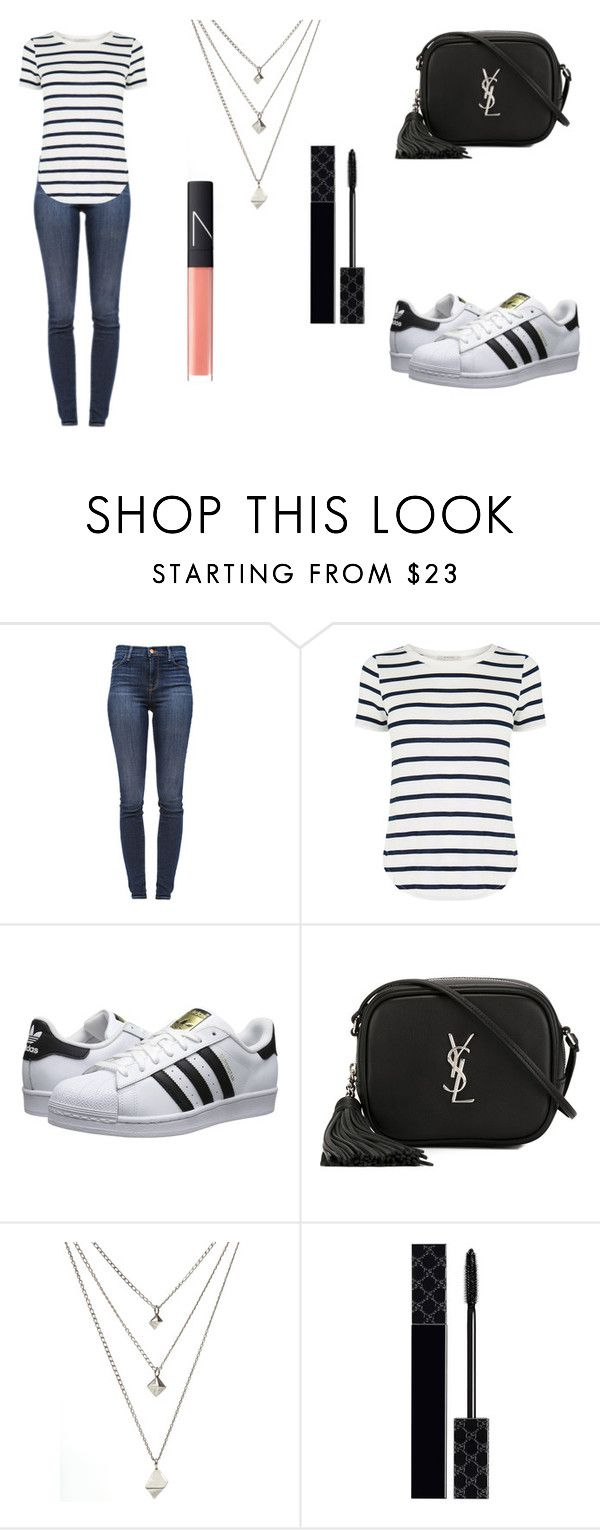 """""""Untitled #511"""" by siwar123 ❤ liked on Polyvore featuring J Brand, Oasis, adidas Originals, Yves Saint Laurent, Gucci and NARS Cosmetics"""