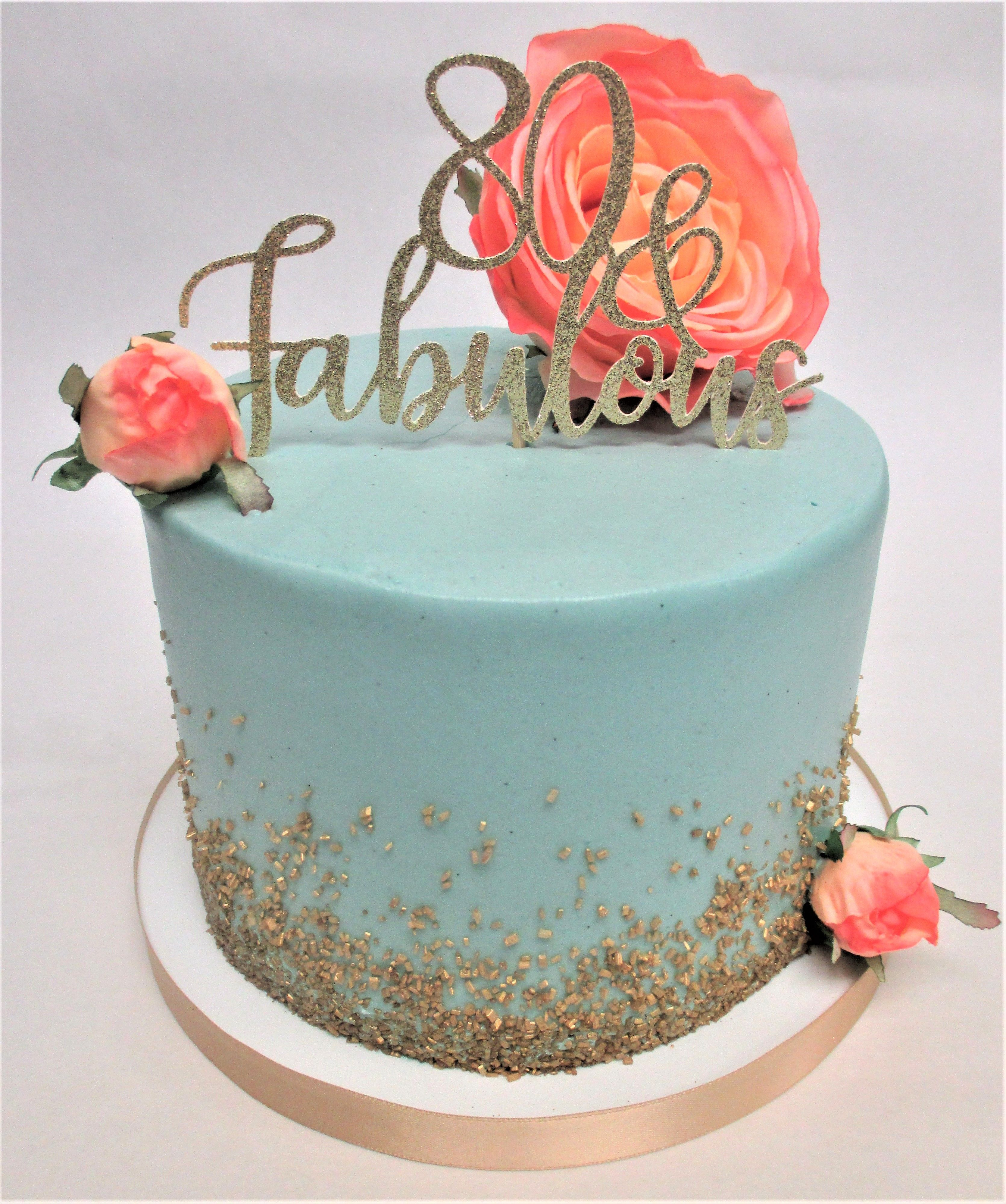 Simple Turquoise 80th Birthday Cake With Cascading Gold Sugar By