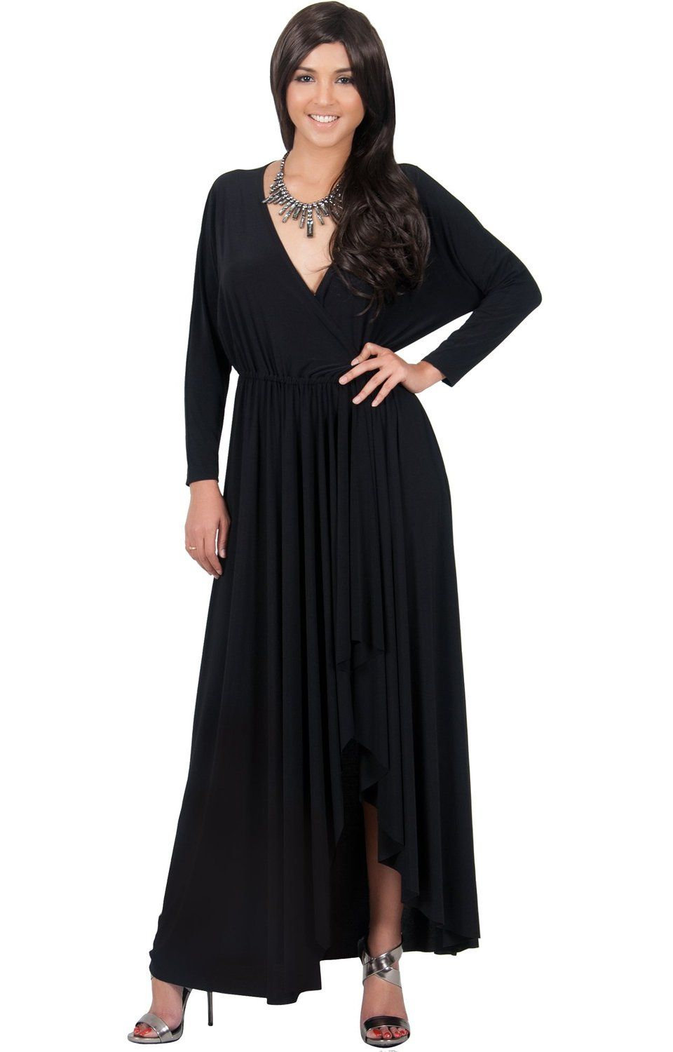 7253f55b67800 KOH KOH Womens Long Sleeve Wrap Slit Formal Fall Winter Cocktail Gown Maxi  Dress -- Check this awesome image   Dresses