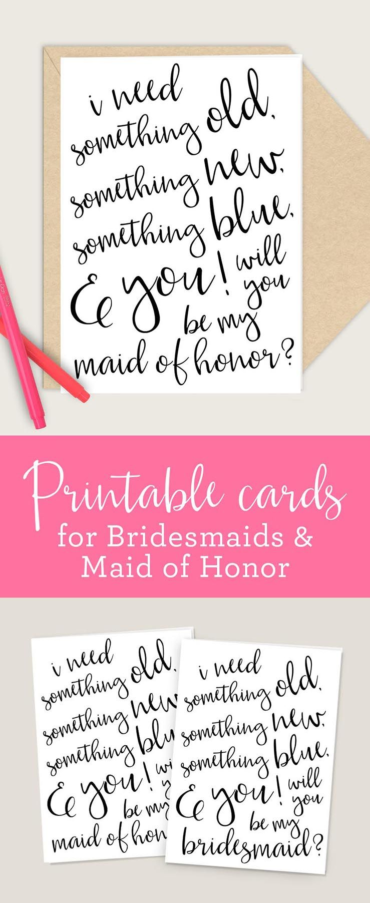 graphic about Will You Be My Maid of Honor Printable referred to as Bridesmaid Maid of Honor Printable Playing cards, 4x6 5x7 PDF