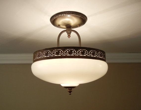 Traditional Bathroom Barclay Flush Fitting Glass Ceiling: Antique 1930's Ceiling Light Glass & Brass By